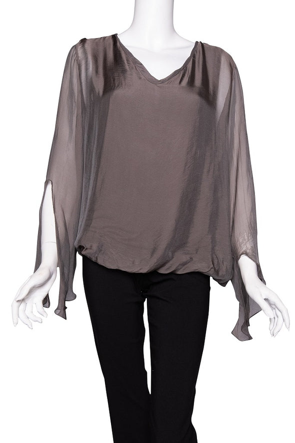 BLS218-243 Dark Taupe Tiffany Long Sleeve Silk V-Neck Butterfly Bottom Open Wrist