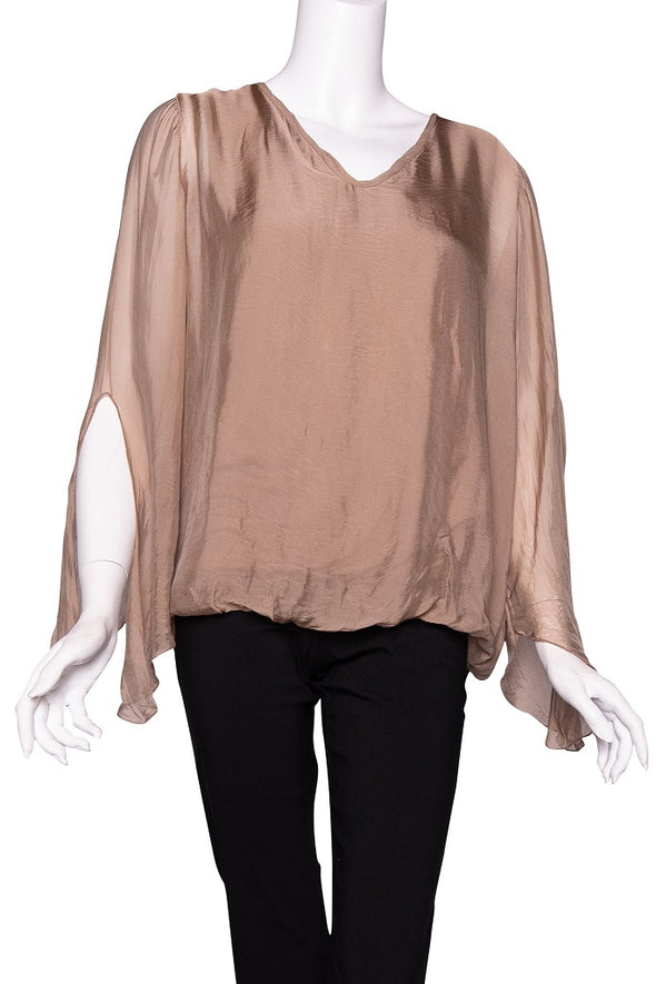 BLS218-258 Camel Tiffany Long Sleeve Silk V-Neck Butterfly Bottom Open Wrist