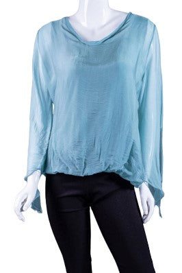 Tiffany Long Sleeve Silk V-Neck Butterfly Bottom Open Wrist