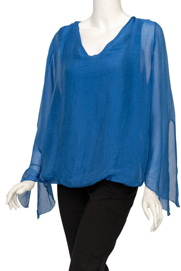 BLS218-407 Royal Blue Tiffany Long Sleeve Silk V-Neck Butterfly Bottom Open Wrist