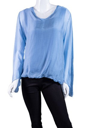 BLS218-427 Jeans Tiffany Long Sleeve Silk V-Neck Butterfly Bottom Open Wrist
