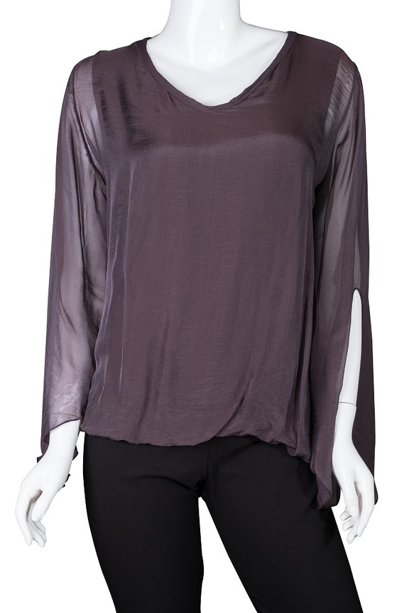BLS218-503 Eggplant Tiffany Long Sleeve Silk V-Neck Butterfly Bottom Open Wrist