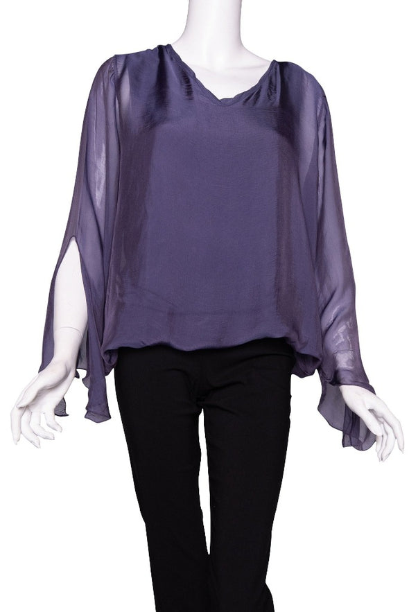 BLS218-506 Plum Tiffany Long Sleeve Silk V-Neck Butterfly Bottom Open Wrist