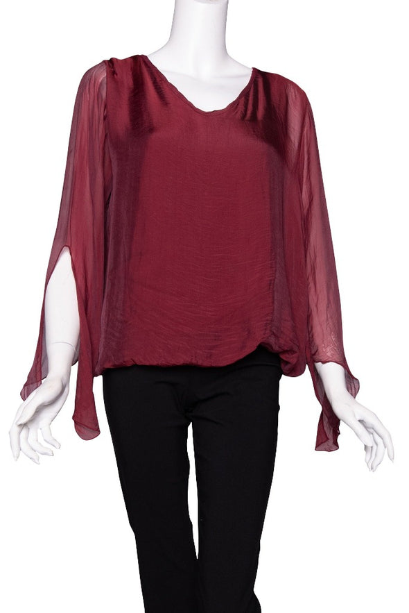BLS218-602 Burgundy Tiffany Long Sleeve Silk V-Neck Butterfly Bottom Open Wrist
