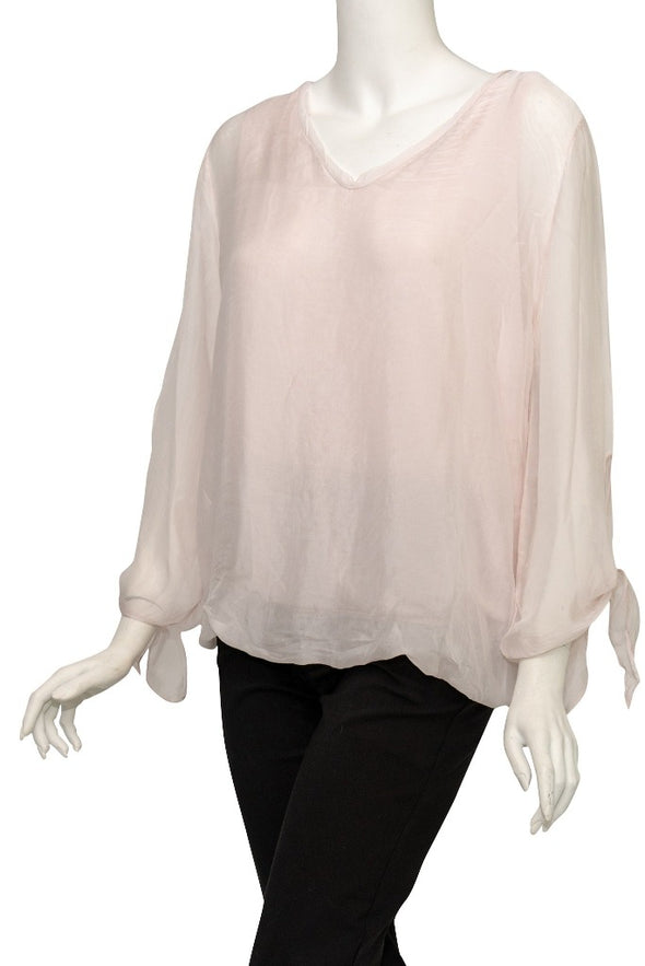 BLS218-681 Blush Tiffany Long Sleeve Silk V-Neck Butterfly Bottom Open Wrist
