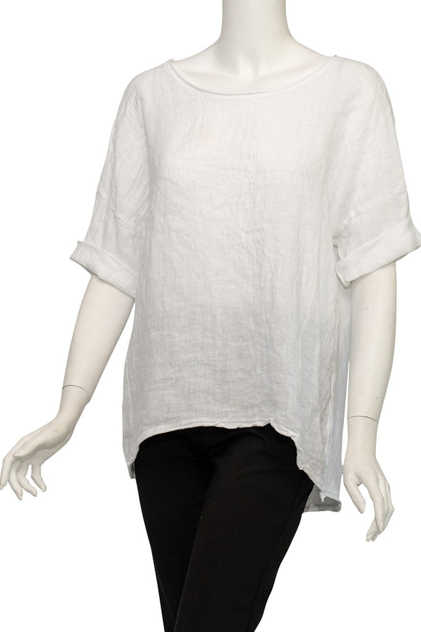 Amia 3/4 Sleeve Cotton/Linen Tee