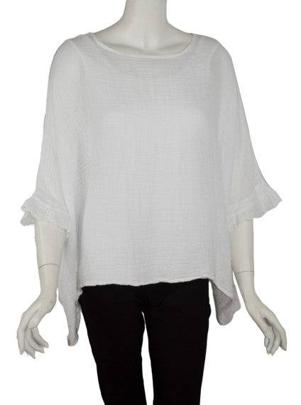 Samara 3/4 Sleeve Ruffle Loose Gauze Top