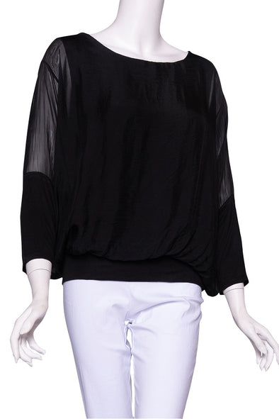 Rosa 3/4 Sleeve Silk Banded Blouse