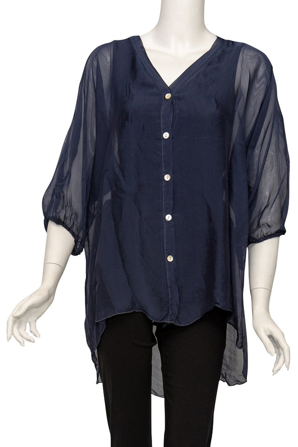 Viola 3/4 Sleeve Silk Button Front Blouse