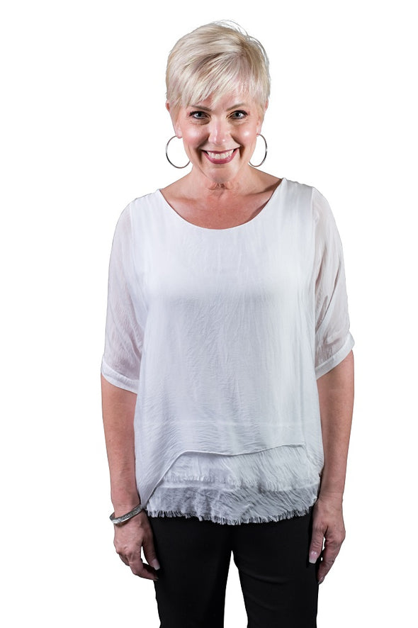 Adriana 3/4 Sleeve Silk Double Raw Edge Top