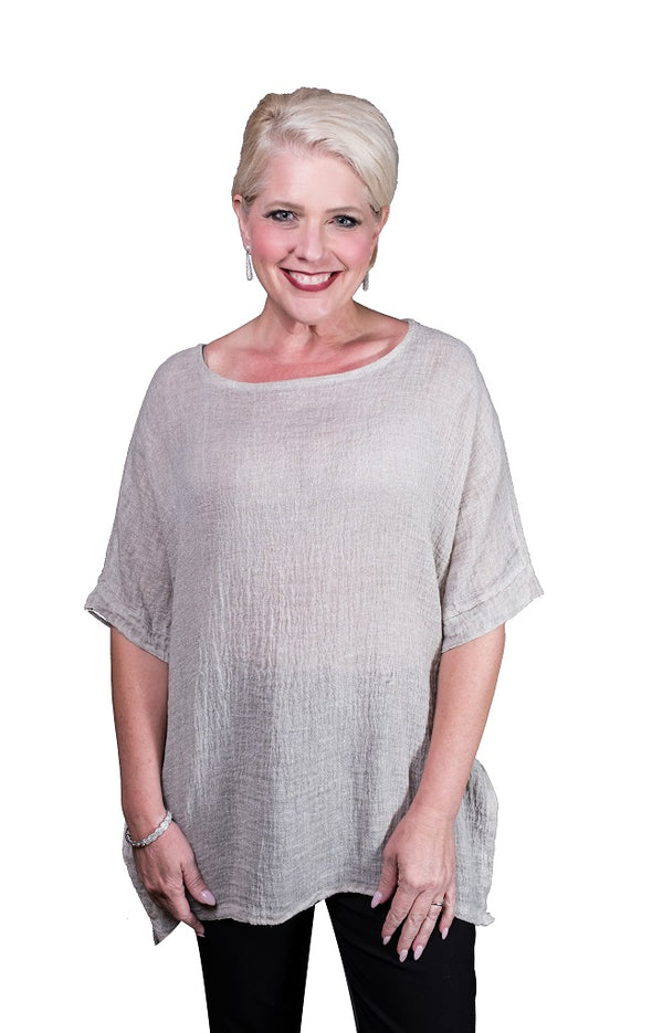 BSS137-247 Taupe Enzyme Oaklyn SS Crinkle Linen Top