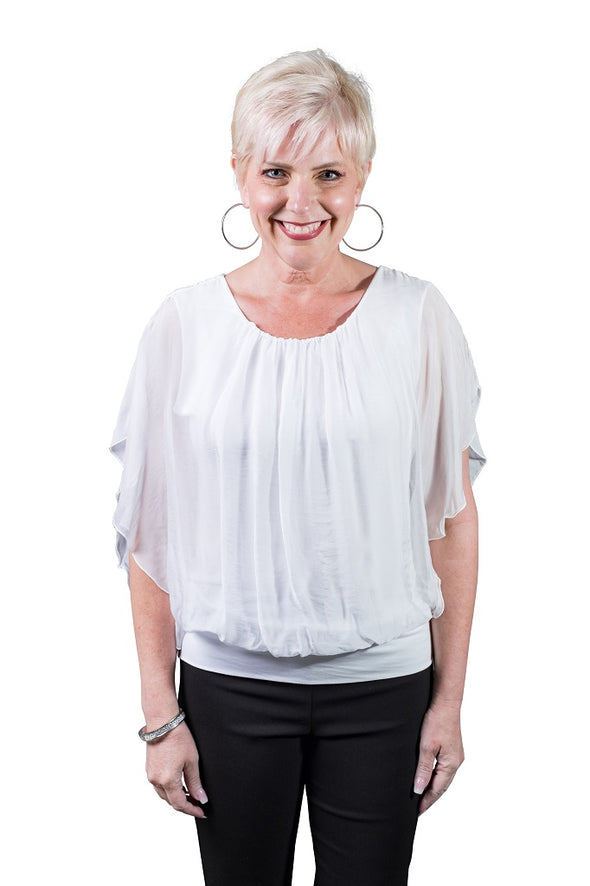 BSS202-100 White Aurora Flutter Fly Sleeve Silk Top with Band Bottom