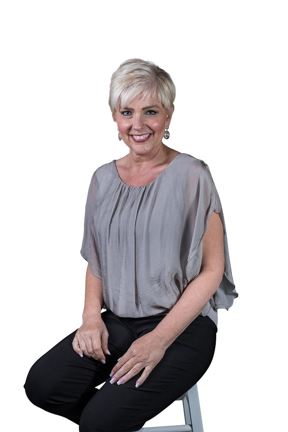 BSS202-210 Taupe Aurora Flutter Fly Sleeve Silk Top with Band Bottom