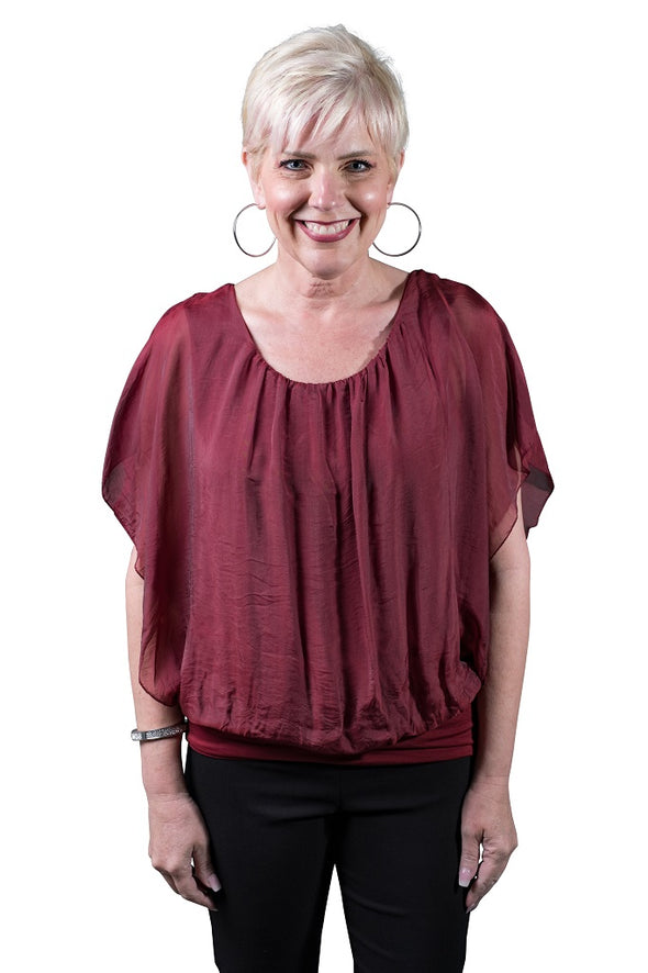 BSS202-602 Burgundy Aurora Flutter Fly Sleeve Silk Top with Band Bottom