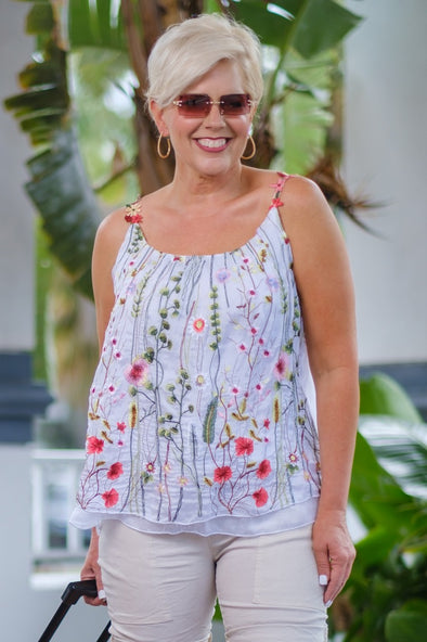 BT202-100 White Maria Silk Embroidered Garden Cami Flower Strap