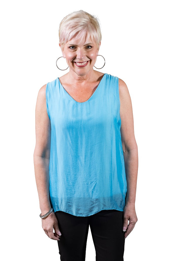 Dina Silk V-Neck Tank