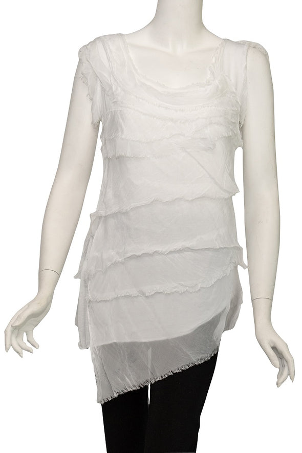 Arianna Sleeveless Silk Ruffle Top