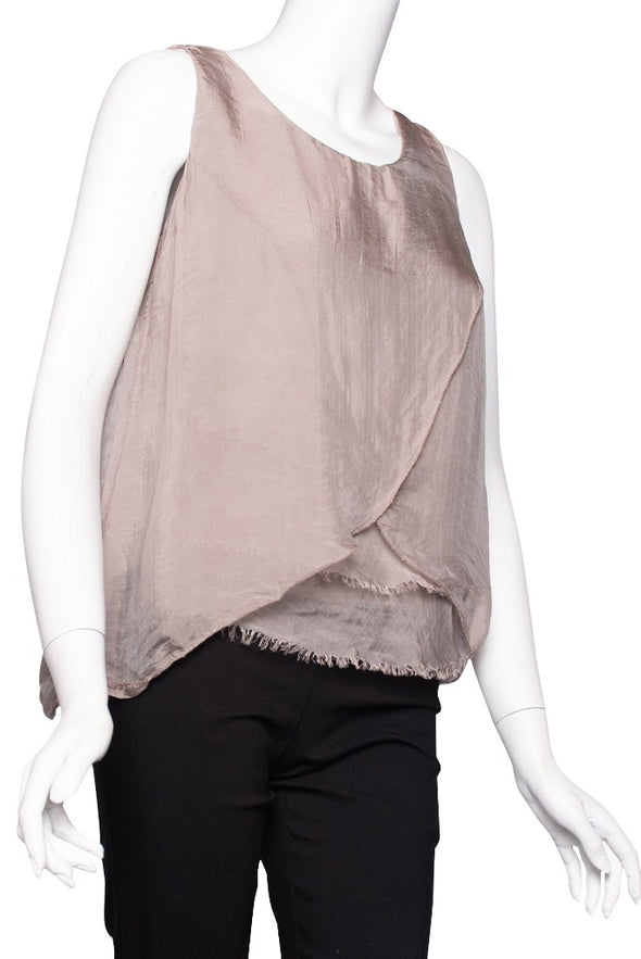 Alessandra Silk Crossover Raw Edge Tank