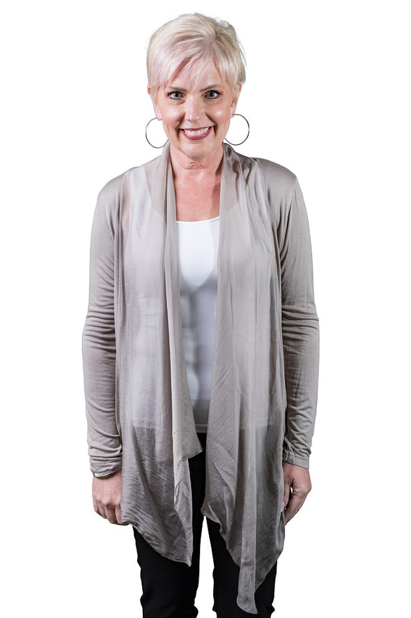 Carla Long Sleeve Open Cardi w/Silk Trim