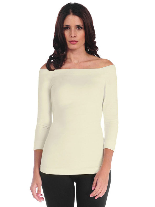 725OSQ-181 Cream 3/4 Sleeve Off Shoulder