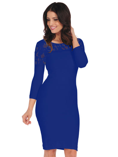 41D-138 Cobalt Crochet Dress