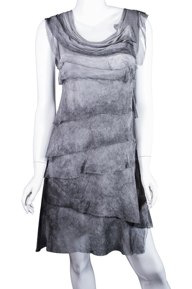 DT202-015 Brushed Charcoal Mariana Sleeveless Silk Ruffle Dress