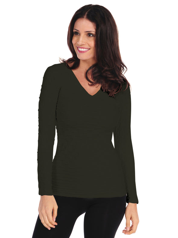 Long Sleeve Lattice V-Neck