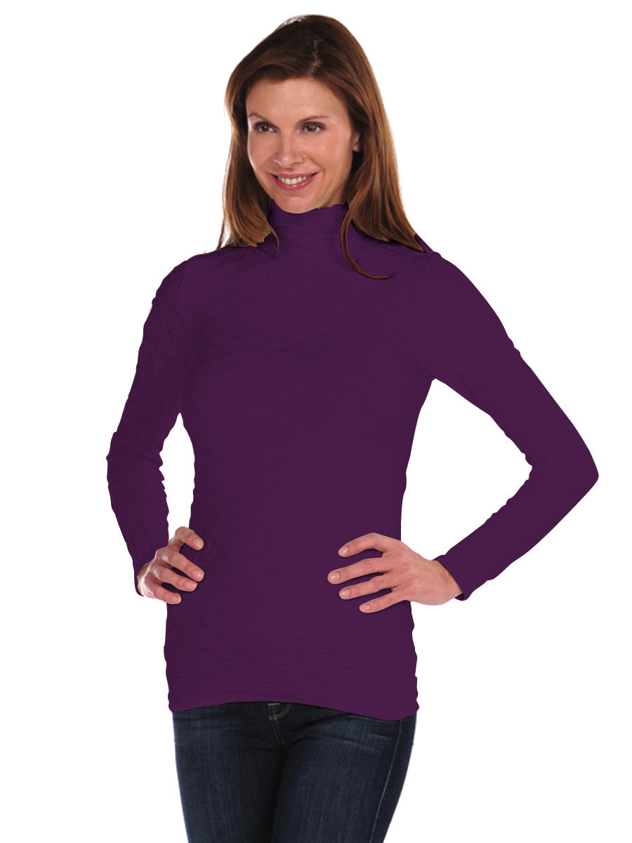 Long Sleeve Lattice Mock Neck