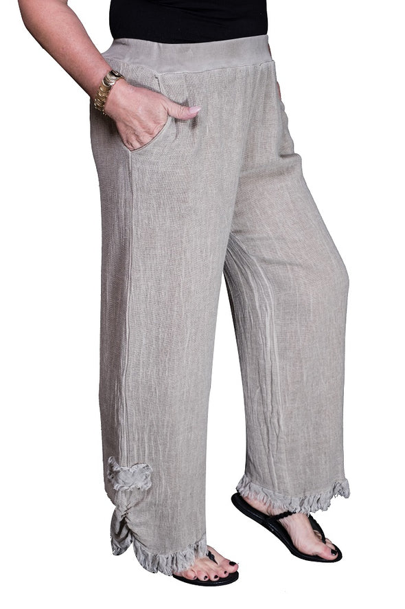 PL133-241 Taupe Enzyme Genevieve Open Weave Frayed Hem Pant