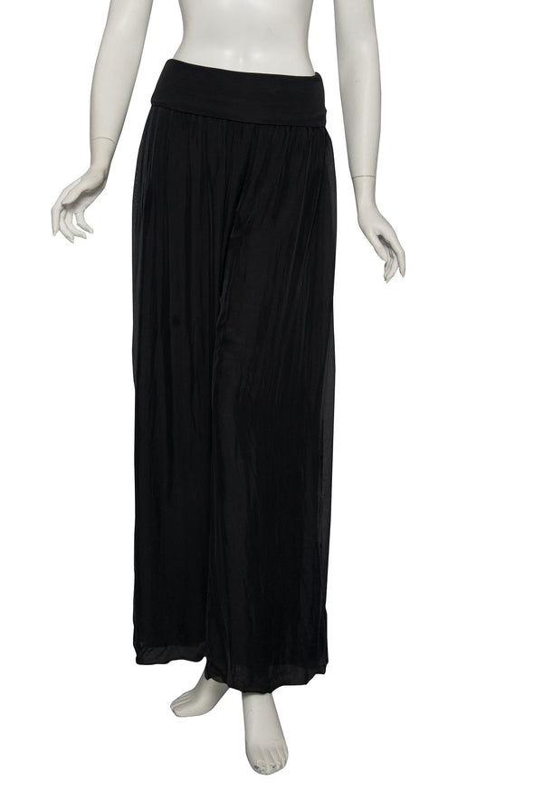 PL203-001 Black Mercedes Silk Pant with Foldover Waist