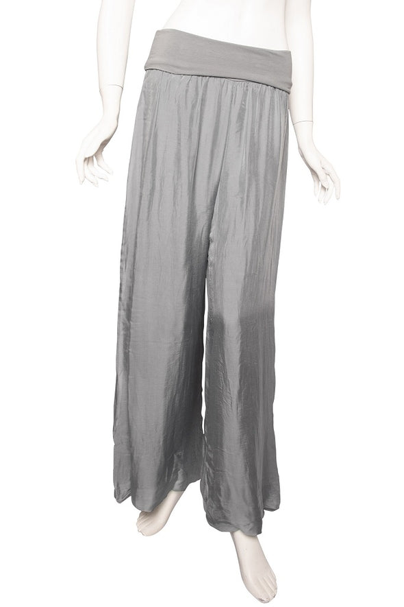 PL203-040 Medium Gray Mercedes Silk Pant with Foldover Waist