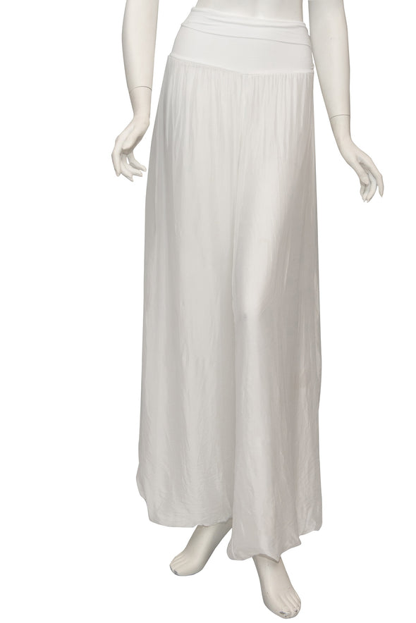 PL203-100 White Mercedes Silk Pant with Foldover Waist