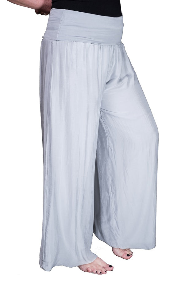 PL203-150 Pearl Mercedes Silk Pant with Foldover Waist