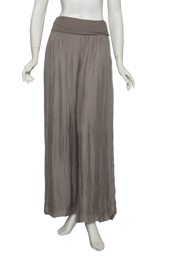 PL203-243 Dark Taupe Mercedes Silk Pant with Foldover Waist