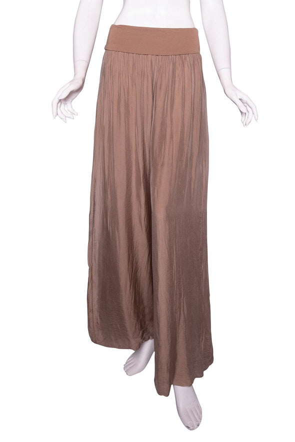 PL203-258 Camel Mercedes Silk Pant with Foldover Waist