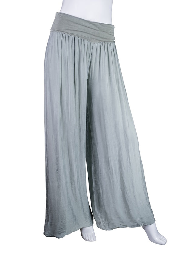 PL203-316 OIive Mercedes Silk Pant with Foldover Waist
