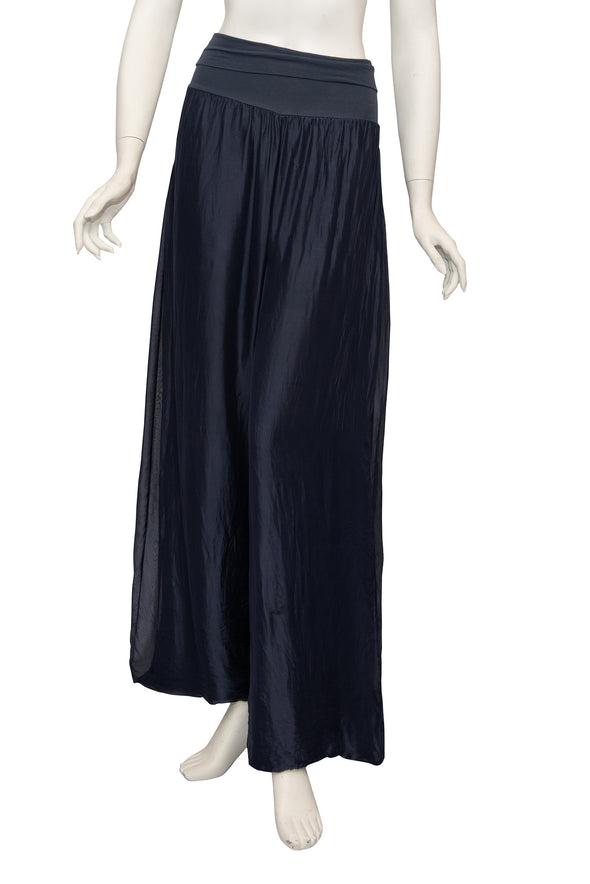PL203-409 Navy Mercedes Silk Pant with Foldover Waist