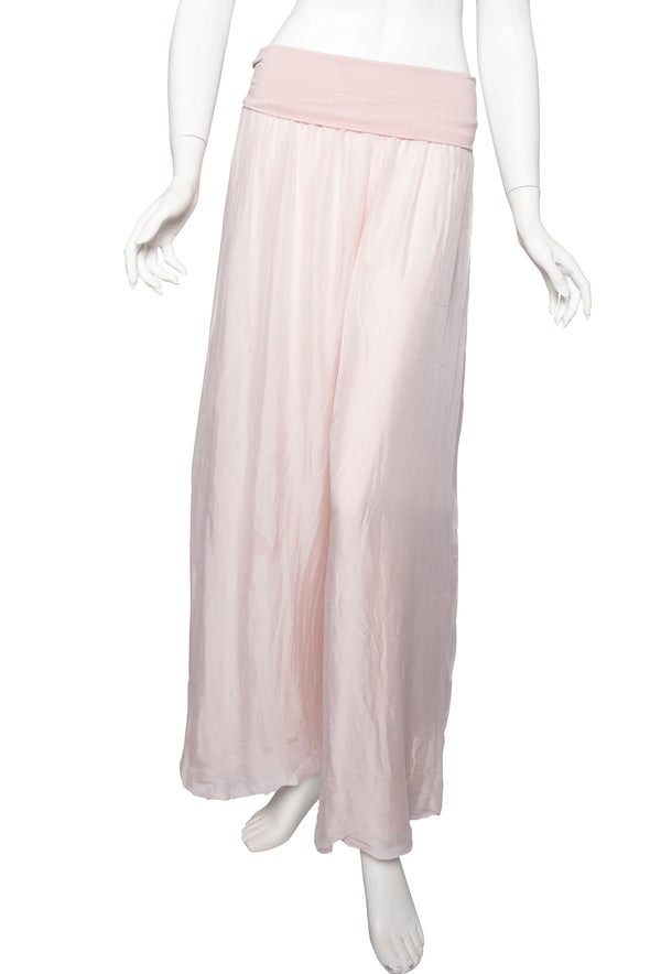 PL203-681 Blush Mercedes Silk Pant with Foldover Waist