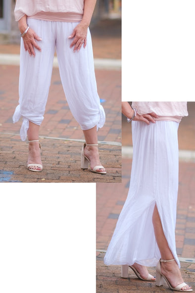 PL206-100 White Eva Silk Side Slit Pant