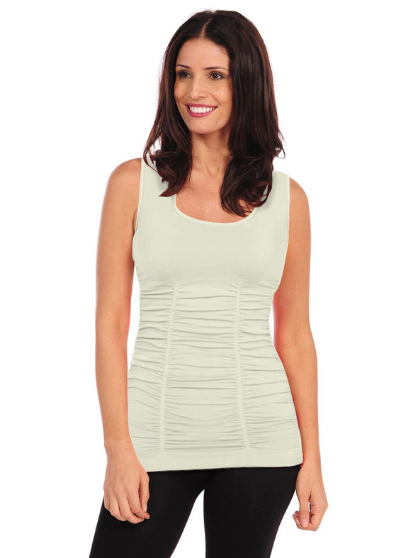 310RT-181 Cream Ruched Tank