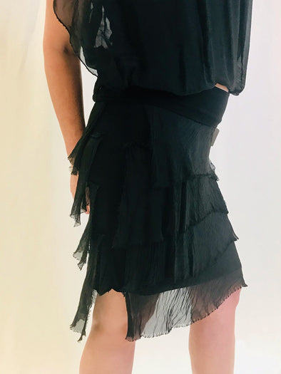 SS203-001 Black Marisa Silk Ruffle Skirt - Short