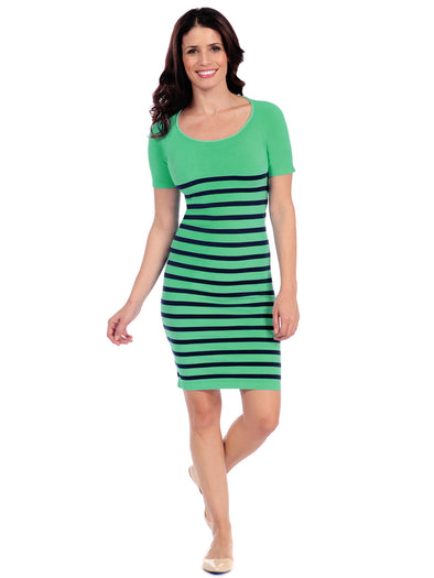 17D-199 Green/Navy Nautical Stripe Dress
