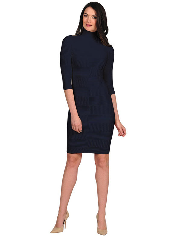 Textured Mock Neck Dress