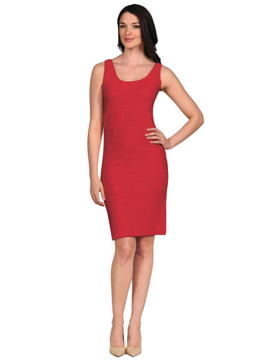 16D-159 Fire Engine Red Textured Tank Dress