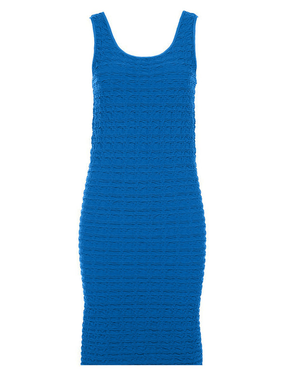 19DT-148 Cruise Blue Crinkle Tank Dress