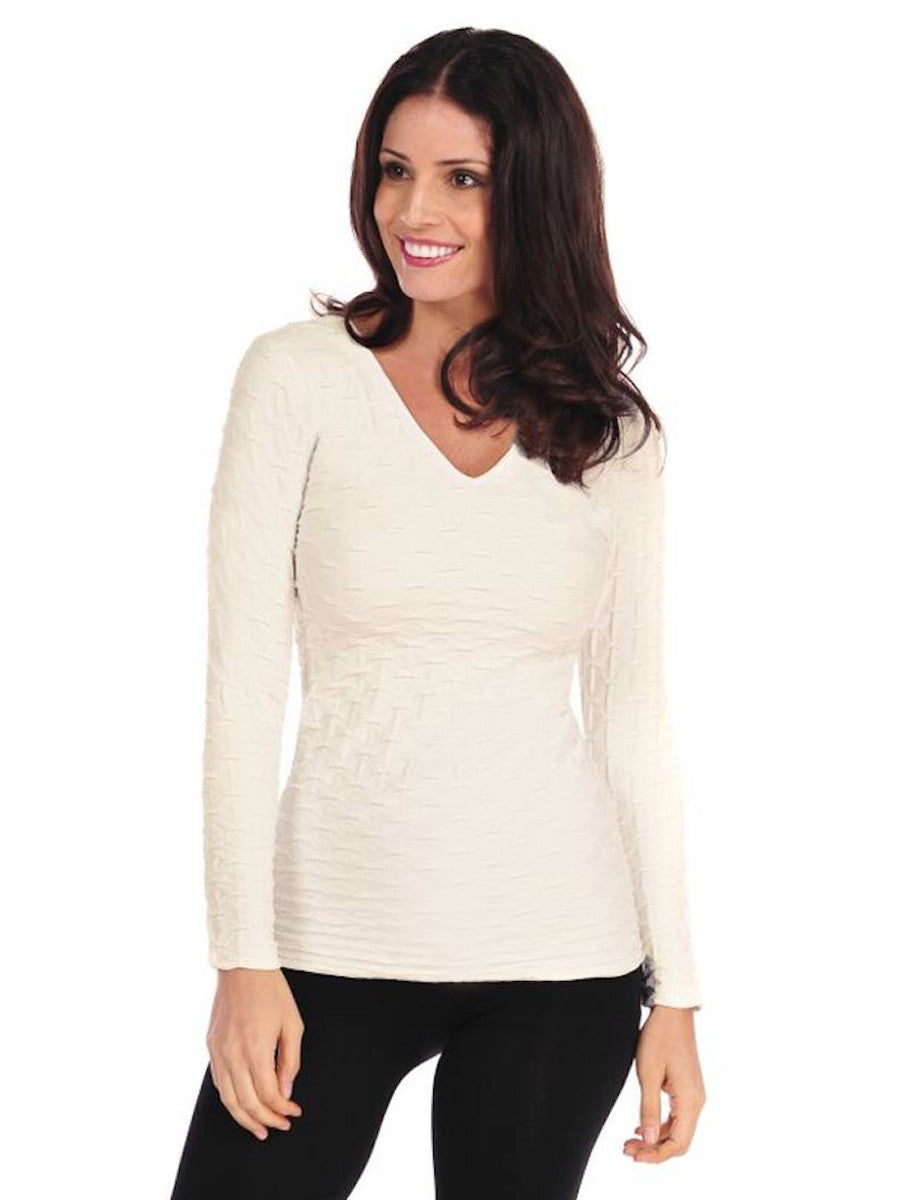 Lattice Long Sleeve V-Neck
