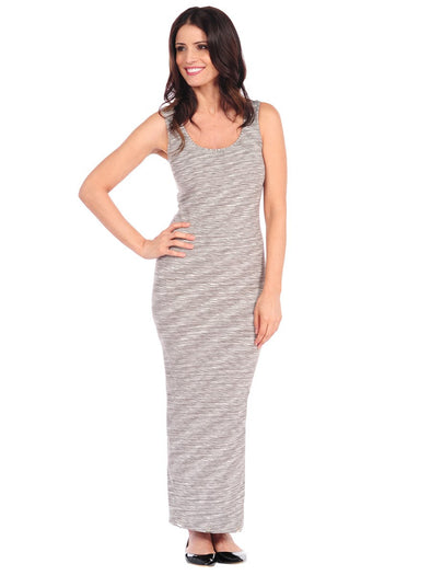 36DM-273 Tonal Gray Marled Maxi Dress