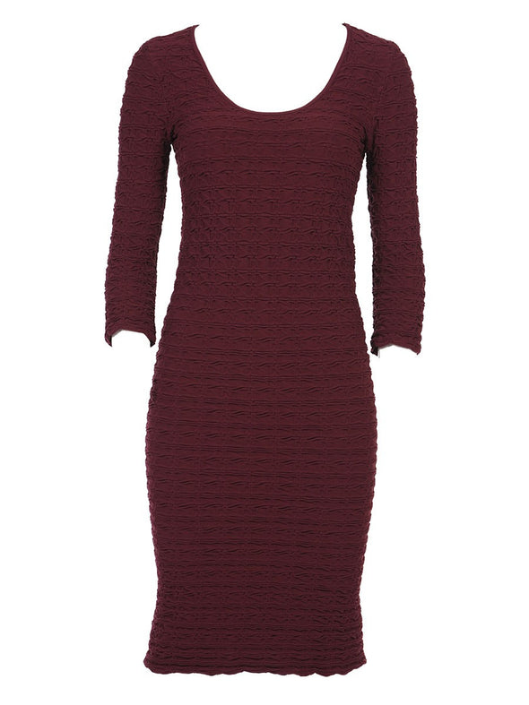 19DP-154 Burgundy Crinkle Scoop Neck Dress