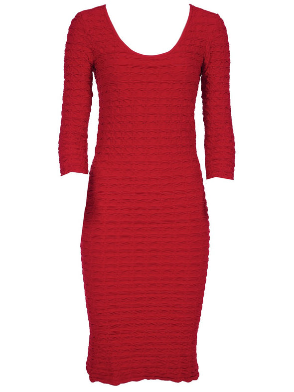 19DP-153 Crimson Crinkle Scoop Neck Dress