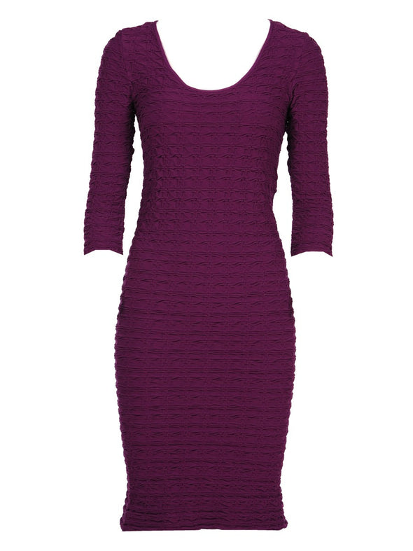 19DP-176 Dark Raspberry Crinkle Scoop Neck Dress